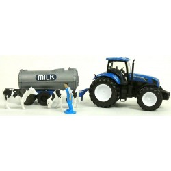 COFFRET MOISSONNEUSE BATTEUSE NEW HOLLAND CR 9090 + TRACTEUR REMORQUE NEW HOLLAND + SILO